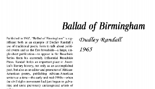 a review of ballad of birmingham by dudley randall Get this from a library ballad of birmingham [dudley randall broadside press.