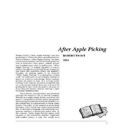 a review of after apple picking by robert frost Start studying robert frost learn his and arms after reading critical review in time frost has and oft-quoted poems including after apple-picking.