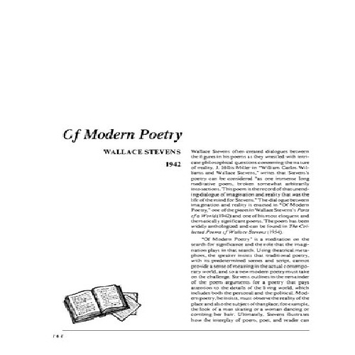 analysis of wallace stevens on modern poetry essay Document resume ed 070 080 a method of explicating modern poetry wallace stevens' approach to reality it is the thesis of this essay that stevens' central.