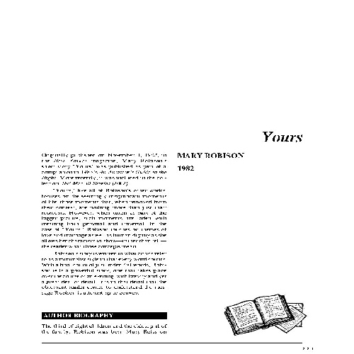 yours by mary robison