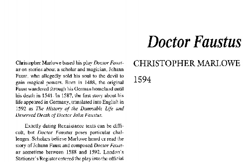 نقد نمایشنامه doctor faustus by christopher marlowe