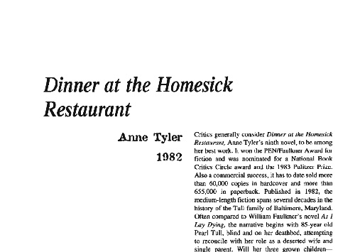 نقد رمان dinner at the homesick restaurant by anne tyler