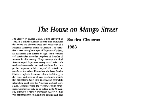 نقد رمان the house on mango street by sandra cisneros