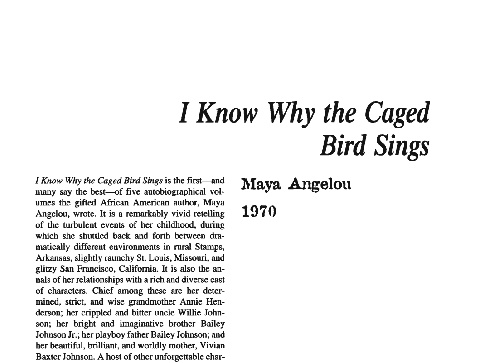 نقد رمان i know why the caged bird sings by maya angelou