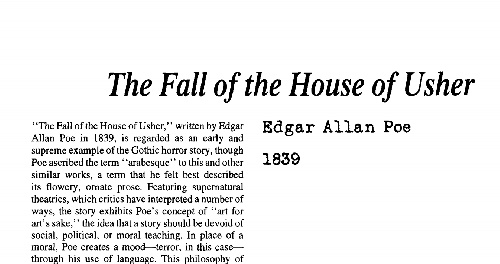 نقد داستان کوتاه the fall of the house of usher by edgar allan poe