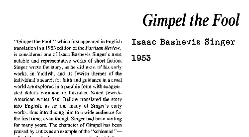 نقد داستان کوتاه gimpel the fool by isaac bashevis singer