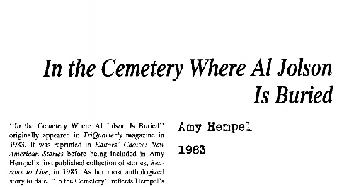 نقد داستان کوتاه in the cemetery where al. jolson is buried by amy hempel
