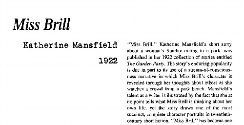 the elderly as the neglected people in miss brill a short story by katherine mansfield