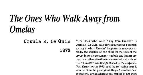 an analysis of fear in ursula k le guins short story the ones who walk away from omelas The ones who walk away from omelas analysis who walk away from omelas by ursula k le guin is a by ursula k le guin is a short story based.