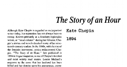 نقد داستان کوتاه the story of an hour by kate chopin