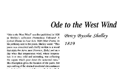 نقد شعر ode to the west wind by percy bysshe shelley