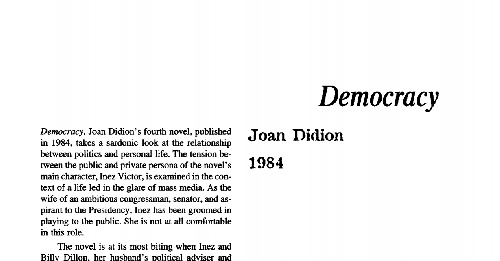 نقد رمان democracy by joan didion