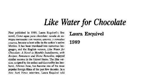 نقد رمان like water for chocolate by laura esquivel