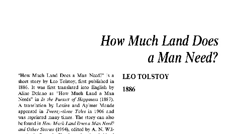 نقد داستان کوتاه how much land does a man need by leo tolstoy