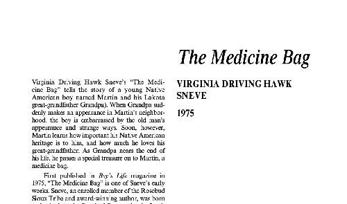 نقد داستان کوتاه the medicine bag by virginia driving hawk sneve