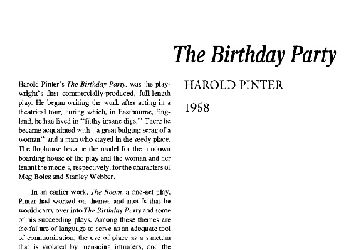 نقد نمایشنامه the birthday party by harold pinter