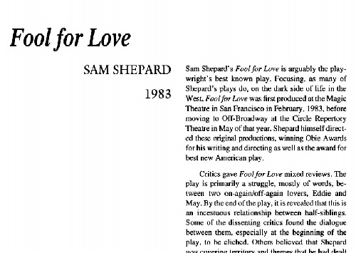 نقد نمایشنامه fool for love by sam shepard