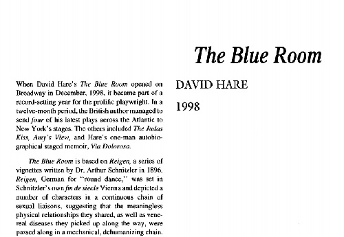 نقد  نمایشنامه    The Blue Room  by  David Hare