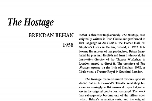 نقد  نمایشنامه    The Hostage   by  Brendan Behan