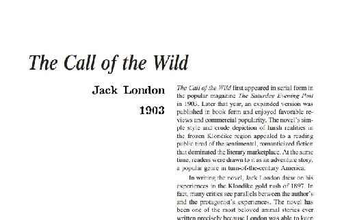 نقد رمان the call of the wild by jack london