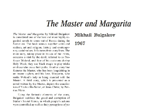 نقد رمان the master and margarita by mikhail bulgakov