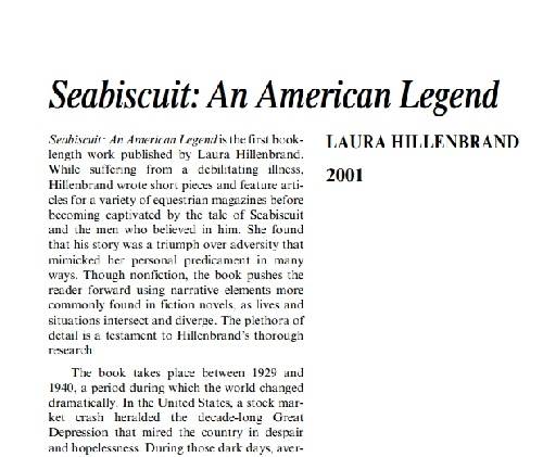 نقدی بر کتاب seabiscuit: an american legend by laura hillenbrand