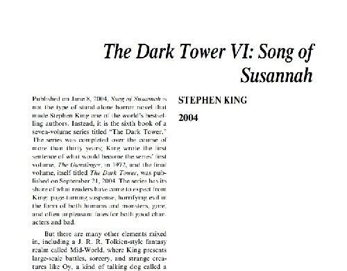 نقد رمان the dark tower vi: song of susannah by stephen king