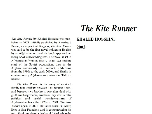 نقد رمان the kite runner by khaled hosseini