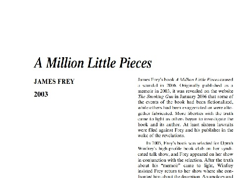 نقد رمان a million little pieces by james frey