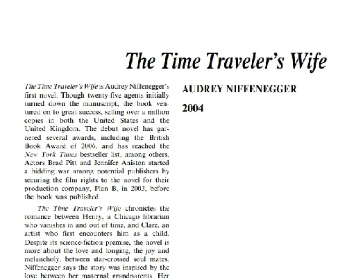 نقد  رمان         The Time Traveler's Wife  by  Audrey Niffenegger