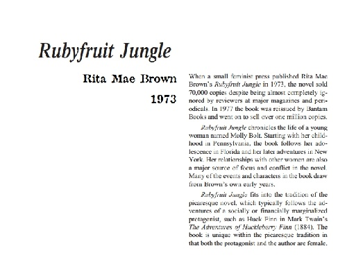 نقد رمان rubyfruit jungle by rita mae brown