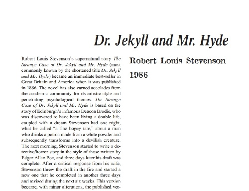 نقد رمان dr jekyll and mr hyde by robert louis stevenson