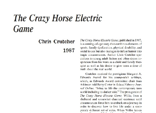 نقد رمان the crazy horse electric game by chris crutcher