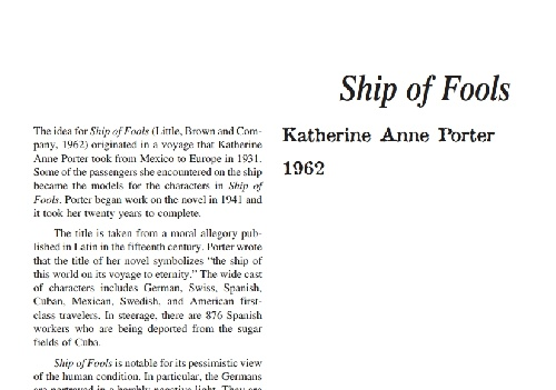 نقد رمان ship of fools by katherine anne porter