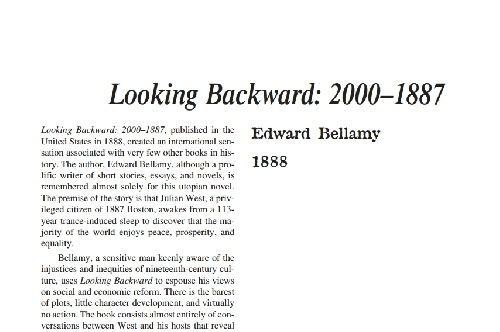 نقد رمان looking backward: 2000–1887 by edward bellamy