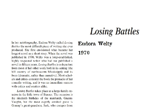نقد رمان losing battles by eudora welty